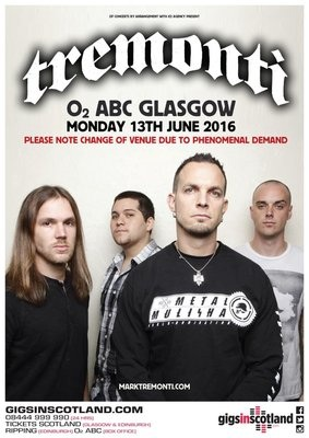 Tremonti: Glasgow Venue Change!